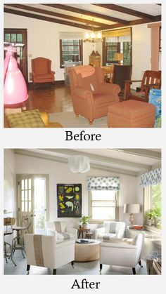 Living Room Makeovers - Before and After: Dark stained beams and dull colors made this room seem closed in. Painting the beams and woodwork in a light grey and the walls in white opened the room up. This helped to visually expand the space. The blue in the fabric brought in much needed additional color.