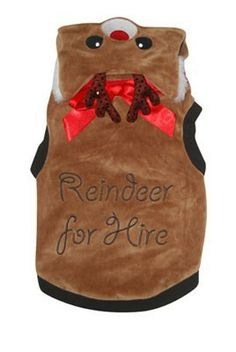 """""""Reindeer For Hire"""" festive reindeer costume, perfect for keeping your dog looking cute and festive this Christmas. This is currently available in sizes from small to extra extra large. Halloween Christmas, Christmas Dog, Reindeer Costume, Fleece Dog Coat, Puppy Coats, Dog Winter Coat, Whippet Dog, Cat Accessories, Fancy Dress"""