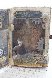 Sarah Fawcett altered a book cover to create this unique steampunk assemblage Steampunk Cards, Steampunk Book, Steampunk Couture, Mix Media, Book Libros, Altered Book Art, Altered Tins, Pop Up, Book Journal