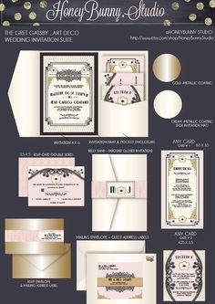 The Great Gatsby .Art Deco. Wedding Invitation suite. DEPOSIT to start Project. HoneyBunny Studio.