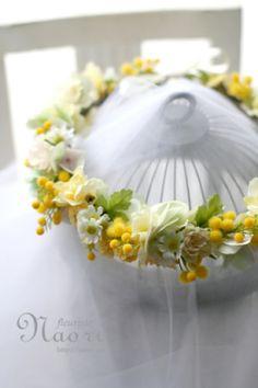 ミモザとカモミールの花冠 イエロー×グリーン