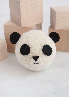 Giant Panda Pom Pom Pom Pom Maker, Purl Soho, Straight Stitch, Cute Diys, Black Felt, Pom Poms, Embroidery Thread, Panda Bear, Charlotte