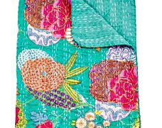 Turquoise Green Kantha Quilt Bed Cover, Sari Indian Quilt, Kantha Throw Kantha Blanket, Indian Bedspread, Kantha bedspread, Bohemian Bedding