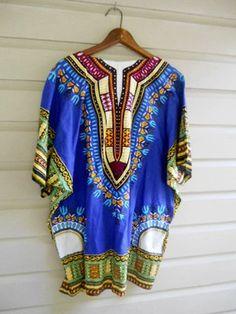 Vintage  Unisex mens Dashiki Shirt by houuseofwren on Etsy,
