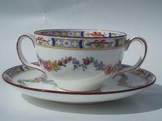 Minton Rose antique handpainted Minton's china cream soups or bouillon cups