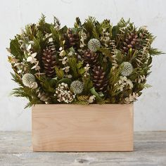 Winter Forest Bouquet-Preserved salal, preserved cedar, natural eucalyptus, echinops, natural sinuate, natural myrtle, pinecones, wooden box