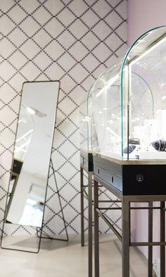 Interior design, retail, Jewelry store. Furniture design, steel, glass and brass. By Anni Gram.
