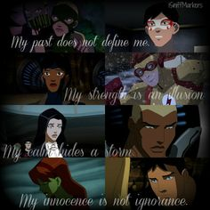 """My past does not define me, my strenght is an ilusion, my calm hides a storm, my innocence os not ignorance. Young Justice League, Young Justice Funny, Young Justice Robin, Marvel Vs, Marvel Dc Comics, Dc World, A Silent Voice, Dc Memes, Batman Family"