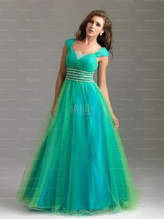 A-line Scoop Beading Tulle Floor-length Evening Dress