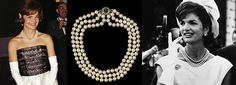 Trzyrzędowy perłowy naszyjnik zpereł Jaqueline Kennedy