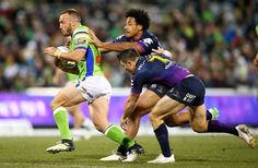 Josh Hodgson of the Raiders runs the ball during the round 20 NRL match between the Canberra Raiders and the Melbourne Storm at GIO Stadium on July 22, 2017 in Canberra, Australia.