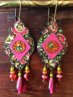 Recycled tin earrings, boho style, gypsy jewelry, by Emily Hickman, Tin Moon Jewelryworks.