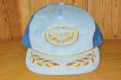 Hawaii Vintage 80s Baby Blue Corduroy Mesh Trucker by HatsForward
