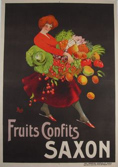 Fruits Confits Saxon Original Vintage Poster by Roch from 1920 France. This original antique poster features a woman holding a basket of vegetables and fruits that fall out of it on black background.