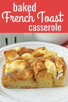 Baked French Toast Casserole Challah bread soaked in a rich sweet custard with sweet cream cheese and topped with a brown sugar streusel topping An easy overnight french. Cinnamon Roll French Toast, French Toast Bake, French Toast Custard Recipe, Baked French Toast Overnight, Cream Cheese Stuffed French Toast Recipe, Overnight French Toast Casserole, French Bread French Toast, Challah French Toast Casserole, Stuffed French Toast Casserole