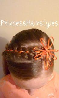 Ribbon flower/braid headband hairstyle