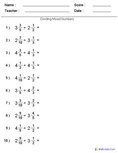 Dividing Mixed Numbers Fractions Worksheets