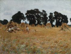 John Singer Sargent (American, 1856–1925). Reapers Resting in a Wheat Field, 1885. The Metropolitan Museum of Art, New York. Gift of Mrs. Francis Ormond, 1950 (50.130.14) | During the mid- and late 1880s, Sargent's interest in Impressionism was nourished by his contact with Claude Monet, whom he visited several times at Giverny beginning in early summer 1885, and by the chance to work outdoors during the summers of 1885 and 1886 in the Cotswolds village of Broadway, Worcestershire.