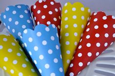 Polka Dot Party Cone in Red Blue and Yellow by ThePolkaDotParty, $10.00