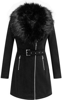 Amazon.com: Bellivera Women's Faux Suede Leather Long Jacket, Wonderfully Parka Coat with Detachable Faux Fur Collar: Clothing