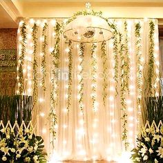 Hang sheet with twinkle lights and vines
