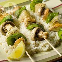 Brochettes de légumes et de poulet mariné @ qc.allrecipes.ca