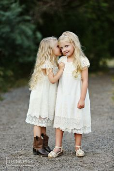 These tea-length flower girl dresses are perfect to wear with cowboy boots or sandals | Junebug Weddings