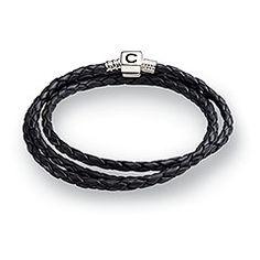 Black Leather Bracelet, L