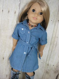 Denim Shirt by nayasdesigns. Made with the Button Down Tunic pattern, found at http://www.pixiefaire.com/collections/lemieux-doll-boutique/products/button-down-tunic-18-doll-clothes. #pixiefaire #buttondowntunic