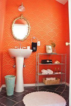 designstILes' powder room, art deco orange/gold wallpaper - love the design, maybe not in orange Gold Wallpaper Bathroom, Wall Wallpaper, Deco Orange, Orange Art, Orange Color, Orange Bathrooms Designs, Orange Wallpaper, Art Deco, Orange Walls