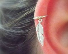 Feather Cartilage hoop Earring Feather by sofisjewelryshop on Etsy