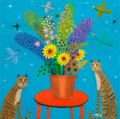 Two Cats and a Bloom of Flowers by Alan Furneaux.