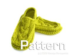 Free easy knitting pattern slippers for men or lady slippers quick
