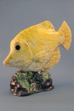 Yellow Tang Fish - Raku Ceramic From Copper Crow Designs