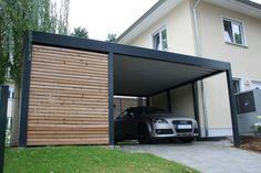 Design Metall Carport aus Holz Stahl mit Geräteraum individuell Stuttgart Deutschland Classy Cars, Garages, Exterior Design, Planer, Minimalism, Pergola, Garage Doors, Sweet Home, Shed