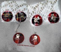 kanzashiland: pendientes tartan steampunk earrings