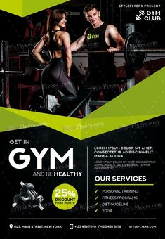 GYM PSD Flyer Template and more than Premium PSD flyer templates for event, loud party or successfull business. Pamphlet Design, Leaflet Design, Gym Advertising, Advertising Design, Free Flyer Templates, Event Flyer Templates, Fitness Design, Gym Design, Graphic Design Flyer