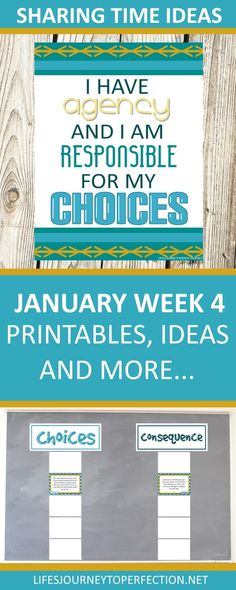 2018 Primary Sharing Time Ideas for January Week 4: I have agency, and I am responsible for my choices