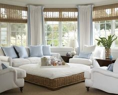 Sunroom Decorating and Design Ideas. Get inspired with clever layout and pretty fabrics, furniture, and accents to transform your sunroom into the most-used room in your house. Tags: sunroom design ideas, sunroom furniture, floor to ceiling windows Cottage Living Rooms, Coastal Living Rooms, Home Living Room, Living Room Designs, Coastal Cottage, Coastal Decor, Coastal Farmhouse, Coastal Entryway, Cottage House