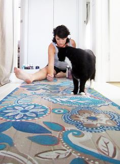 painted floors or cloths! Hand painted floor by Alisa Burke-I am in LOVE with this! powder room or my home hallway tile maybe? Decor, Flooring, Mural, Tiled Hallway, Hand Painted, Painted Wood Floors, Painting On Wood, Painted Rug, Painted Floor