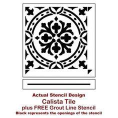 Calista Tile Stencil - DIY Home Decor - Reusable Stencils Painting Tile Floors, Painting Shower, Painted Floors, Stencil Diy, Stencil Painting, Stencil Designs, Tile Stencils, Stencil Templates, Stenciling
