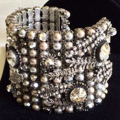 Rare Vintage Miriam Haskell Cuff Bracelet Pearls/Crystal/RS/Silver Tone Filigree #MiriamHaskell