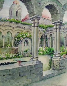 """Colonnaded courtyard garden watercolor on paper, circa 1910. Signed """"Fearonia"""" lower right corner. Displayed in mat and backing Unframed, mat opening 9.5""""H x 7.5""""L, age toning, edge wear, adhesive res"""