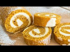 This Pumpkin Roll Cake is an easy and beautiful dessert to make in the fall! It& a pumpkin spice cake rolled with a cream cheese buttercream filling. Cakes To Make, Desserts To Make, Pumpkin Recipes, Cake Recipes, Dessert Recipes, Ice Cream Cake Roll, Pumpkin Roll Cake, Pumpkin Dessert, Chocolate Roll Cake