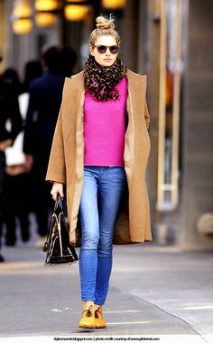 #Celebrity #Street #Style - Jessica Hart Looked Chic In a Camel Colored Coat.  Jessica Hart spends the day out and about in SoHo. The Australian model looked chic in a camel colored coat and a scarf. And the touch of color that Jessica Hart adds, who combines light jeans with a pink pullover and a camel-colored coat, proof that jeans, even though they are the stars of the 'in between seasons' are also perfect for summer as well as winter.