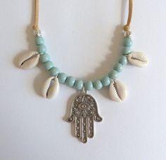 bohemian jewelry, cowrie shell necklace, hamsa hand necklace, gypsy necklace, bohemian necklace, beachcomber boho necklace