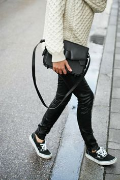 Street Style With White Sweater With Black Pent