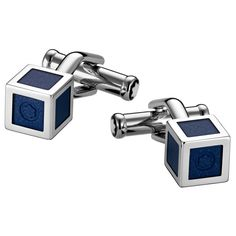 Montblanc Cufflinks Cube Steel Blue Lacquer