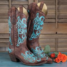Turquoise Scroll Embroidered Boots By Corral