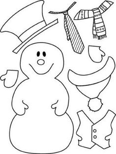 Color and Laminate the snow man and the accessories individualy. Make it a build a snow man game